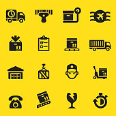 Logistics Yellow Silhouette icons| EPS10