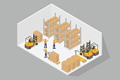 Logistics.3D Isometric inside warehouse with forklift and hand lift.Stacking on the shelf