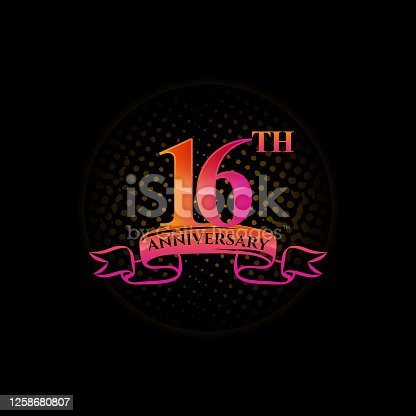 Celebrating the 16th anniversary logo, with gold rings and gradation ribbons isolated on a black background.