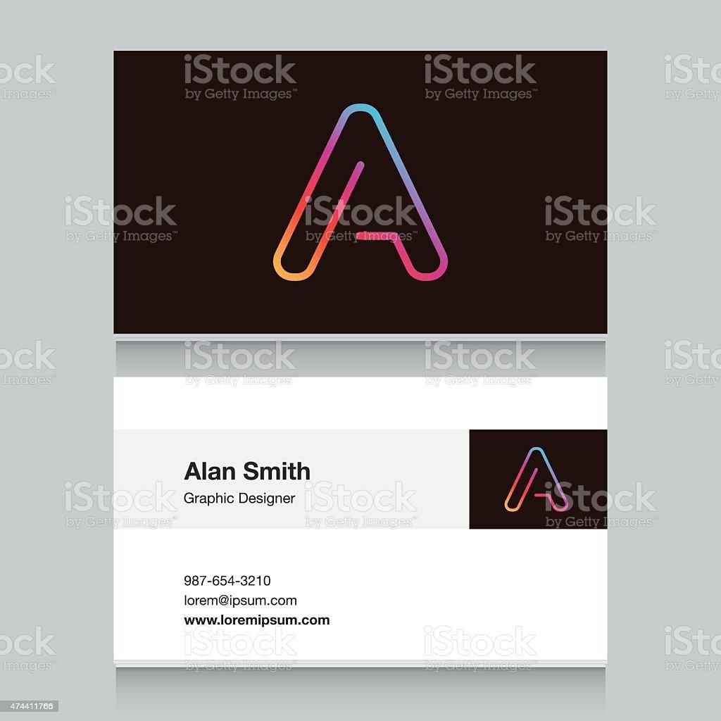 Logo alphabet letter 'A', with business card template. vektör sanat illüstrasyonu