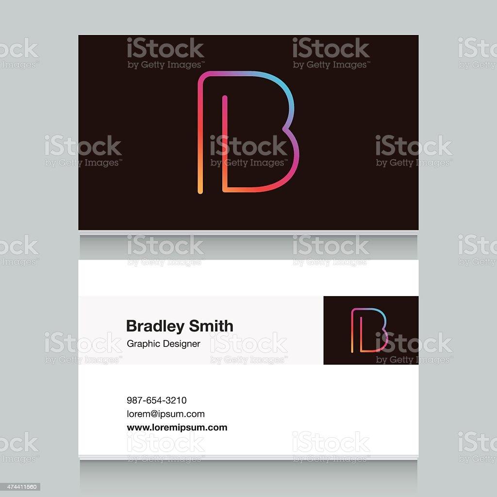 Logo alphabet letter 'B', with business card template. vektör sanat illüstrasyonu