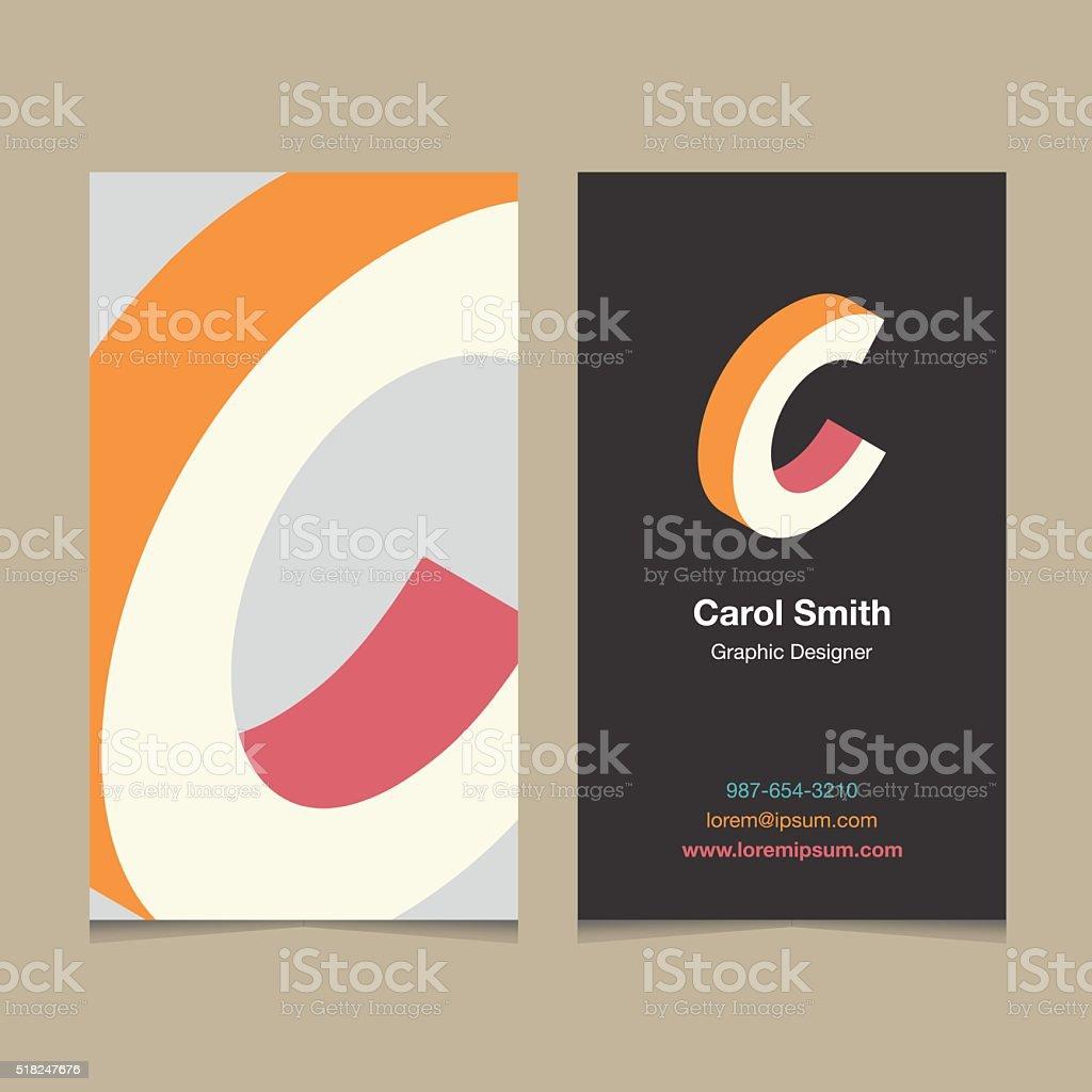 Logo alphabet letter 'C', with business card template. vector art illustration