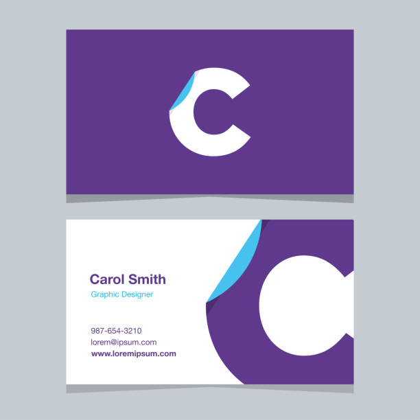 "Logo alphabet letter ""C"", with business card template. Logo alphabet letter ""C"", with business card template. Vector graphic design elements for company logo. letter c stock illustrations"