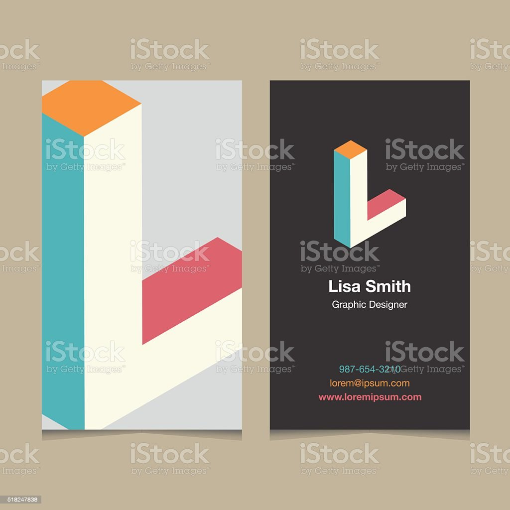 Logo alphabet letter 'H', with business card template. L vector art illustration