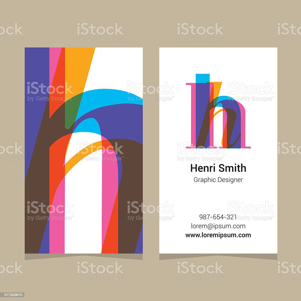 Logo alphabet letter 'H', with business card template. vector art illustration