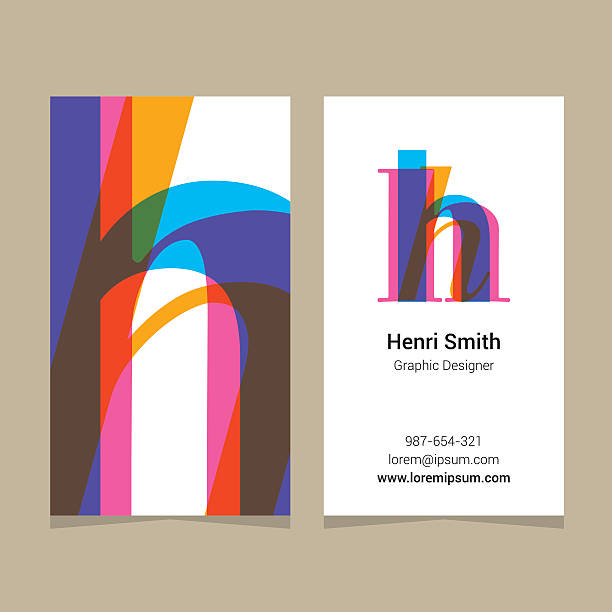 "logo alphabet letter ""h"", with business card template. - h harfi stock illustrations, clip art, cartoons, & icons"