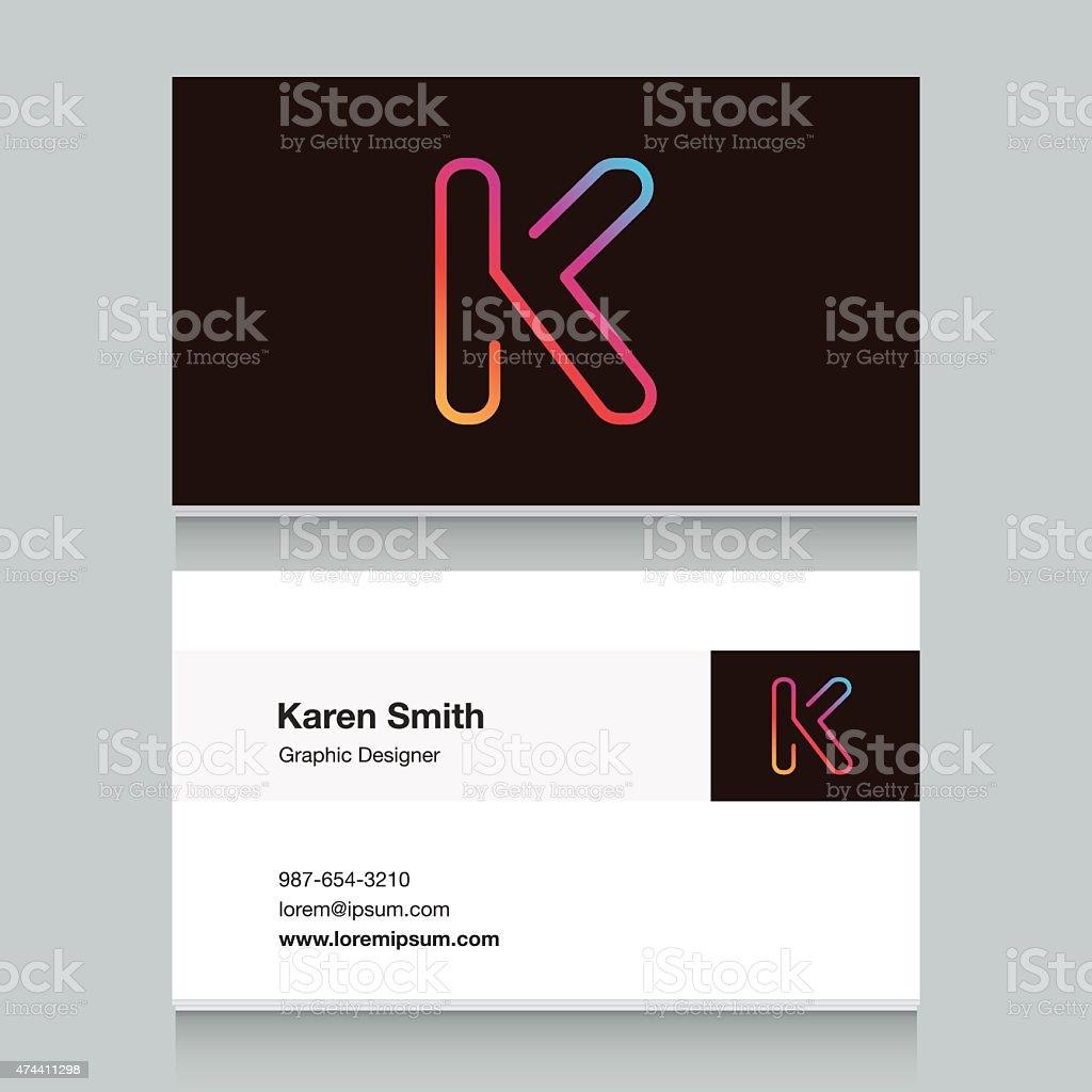 Logo alphabet letter 'K', with business card template. vector art illustration