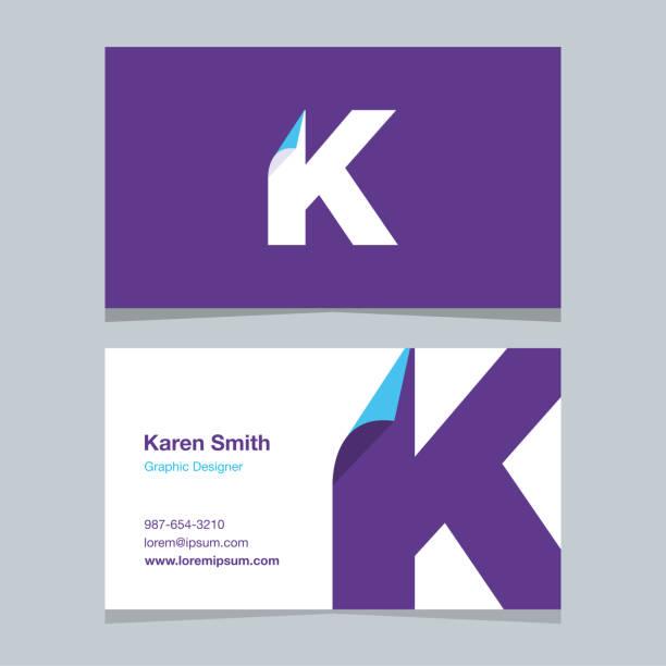 "logo alphabet letter ""k"", with business card template. - k logo stock illustrations"