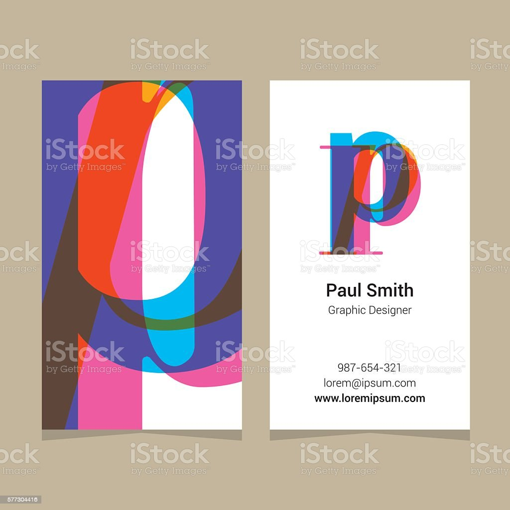Logo alphabet letter 'P', with business card template. vector art illustration
