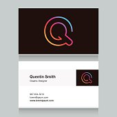 "Logo alphabet letter ""Q"", with business card template."