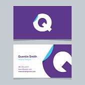 """Logo alphabet letter """"Q"""", with business card template."""
