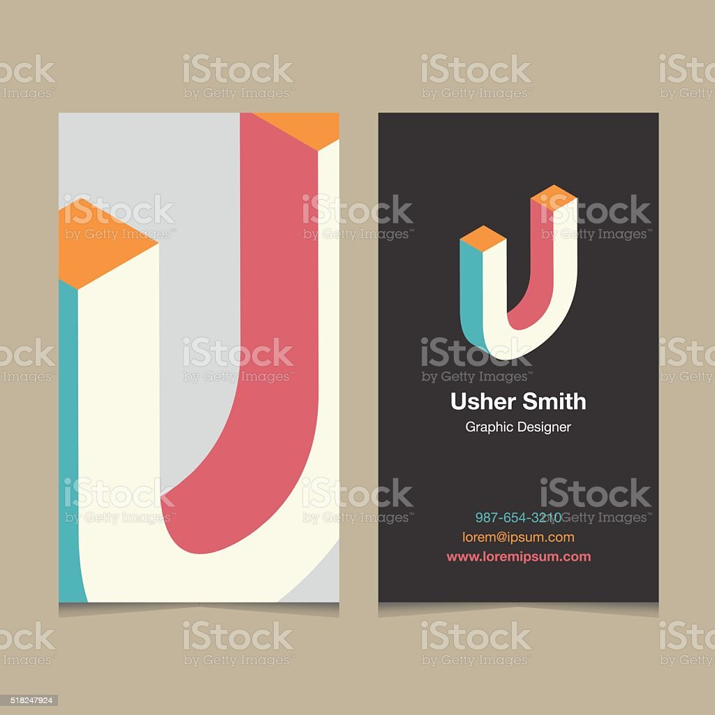 Logo alphabet letter 'U', with business card template. vector art illustration