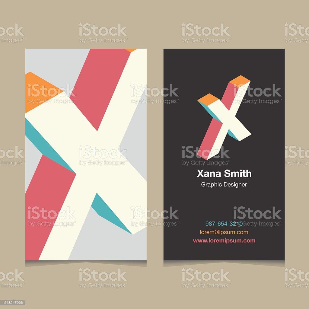 Logotipo Alfabeto Letras X Con Plantilla De Tarjeta De Visita - Arte ...