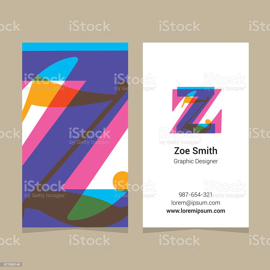 Logo Alphabet Lettre Z Avec Carte De Visite Modle Ouvrir La Maquette