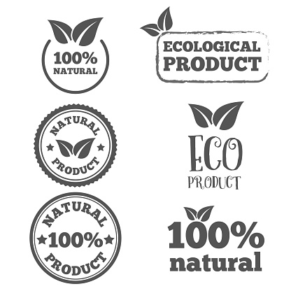Logo, badge, label, logotype elements with leafs for web, business