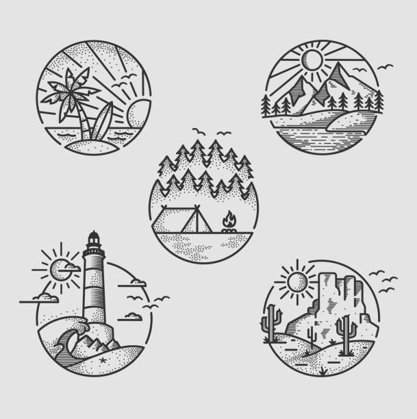 ilustraciones, imágenes clip art, dibujos animados e iconos de stock de logo insignia pack para actividad al aire libre - mountain top