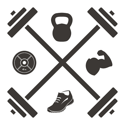 Logo Barbell Cross with Kettlebell Plate Shoe and Muscled Arm Icons