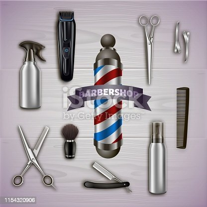 Logo Barbershop and Metal Tools on Gray Background. Barber Tool Kit. Hair Styling Product. Logo on Barbershop Items. Vector Illustration. Advertising Image. Barber Supplies. Scissors and Clipper.