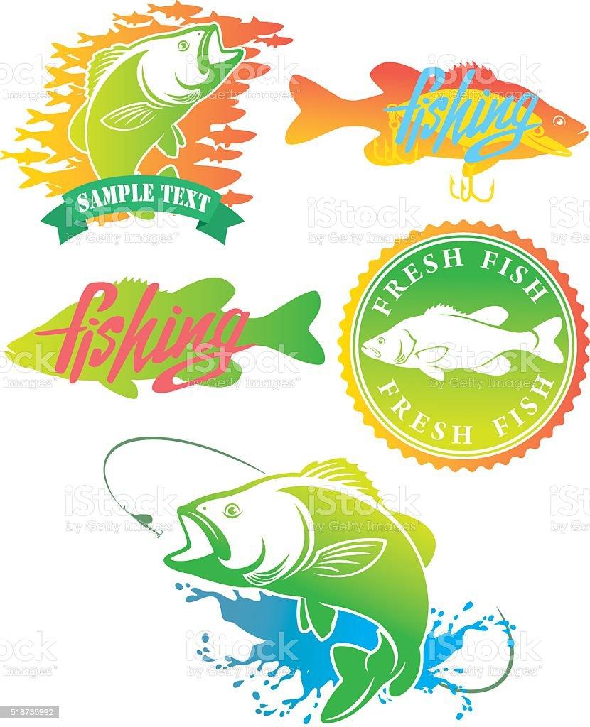 logo bass fish vector art illustration