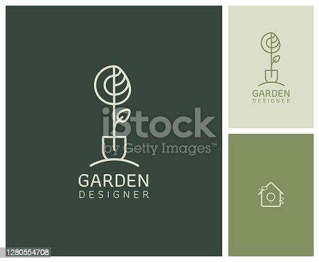 istock logo, branding, logotype for a nurseryman, landscaper, gardener 1280554708