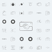logo camera icon. Photo icons universal set for web and mobile on colored background