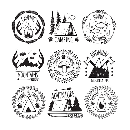Logo camping and summer adventure