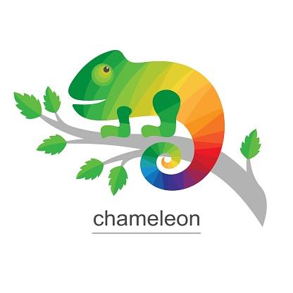 Logo Chameleon on branch.