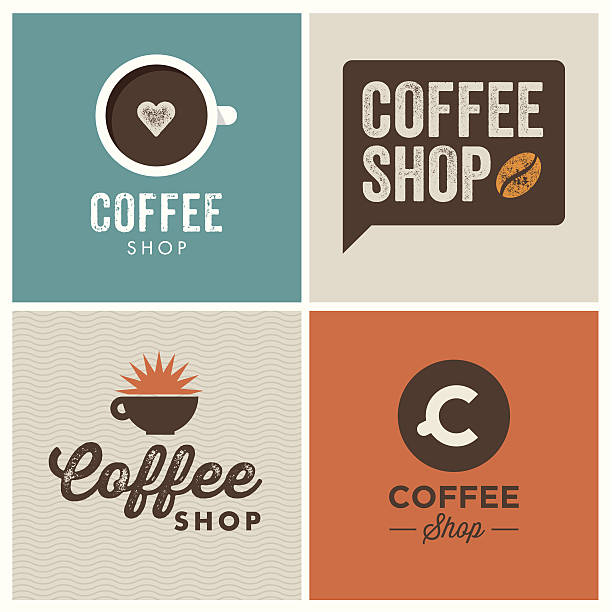 logo coffee shop - coffee stock illustrations, clip art, cartoons, & icons