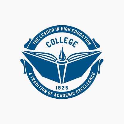 Logo college. Academy, university, school emblem