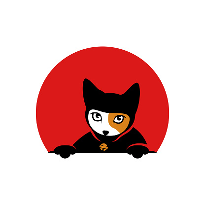 logo concept cat ninja with red moon. logotype for entertainment, media, game. cute cat logo.