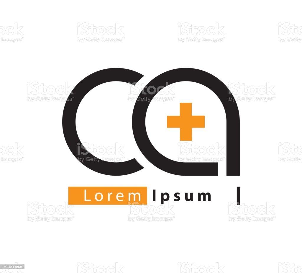 CA Logo konsept tasarımı vektör sanat illüstrasyonu