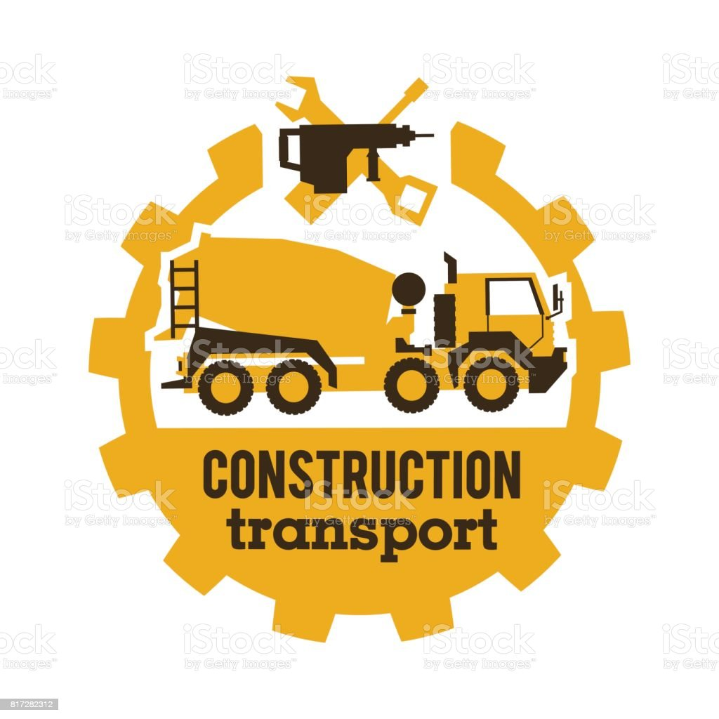 Logo concrete mixers, construction vehicles. Special equipment, truck. The tool for the job. Drill, wrench, screwdriver, gear. Vector illustration. Flat style vector art illustration