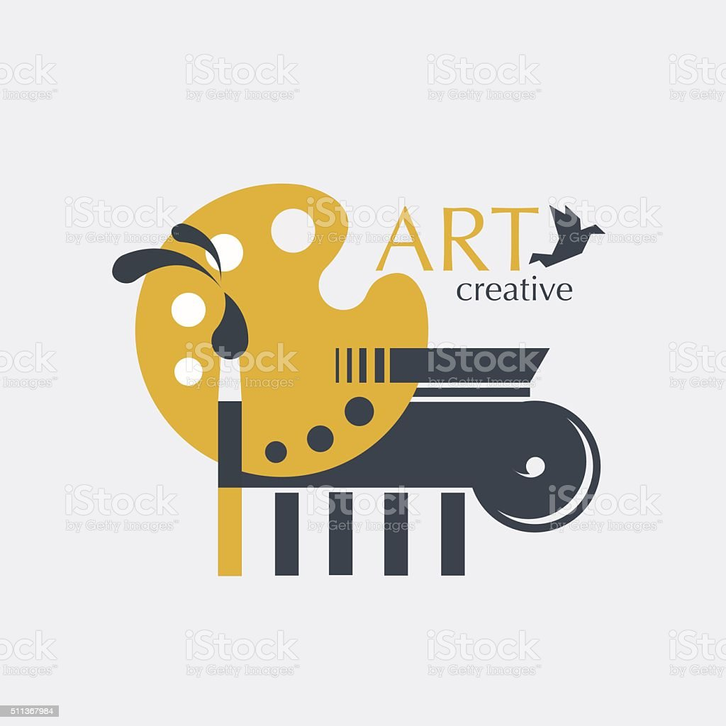 Logo creativity and art with brush, palette and ionic column vector art illustration