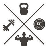 Vector of Logo Cross with Kettlebell Plate dumbbell and Muscled Arm Icons