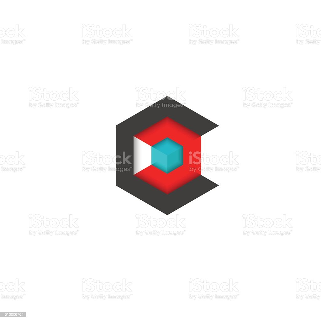 C logo cube isometric, 3D hexagon abstract geometric technology symbol vector art illustration