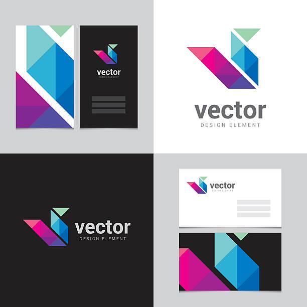 Logo design element with two business cards - 14vectorkunst illustratie