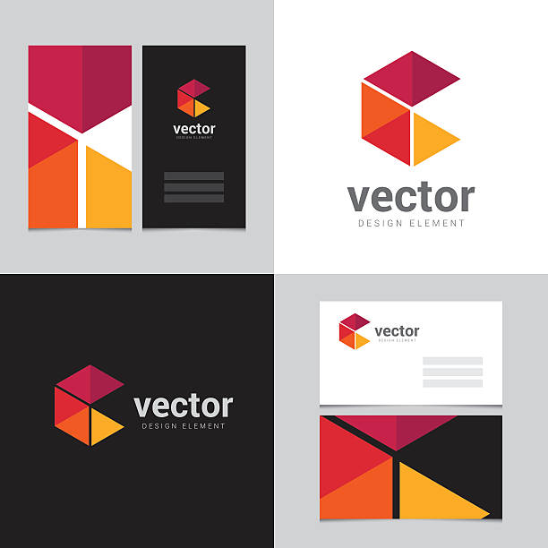 Logo design element with two business cards - 17vectorkunst illustratie
