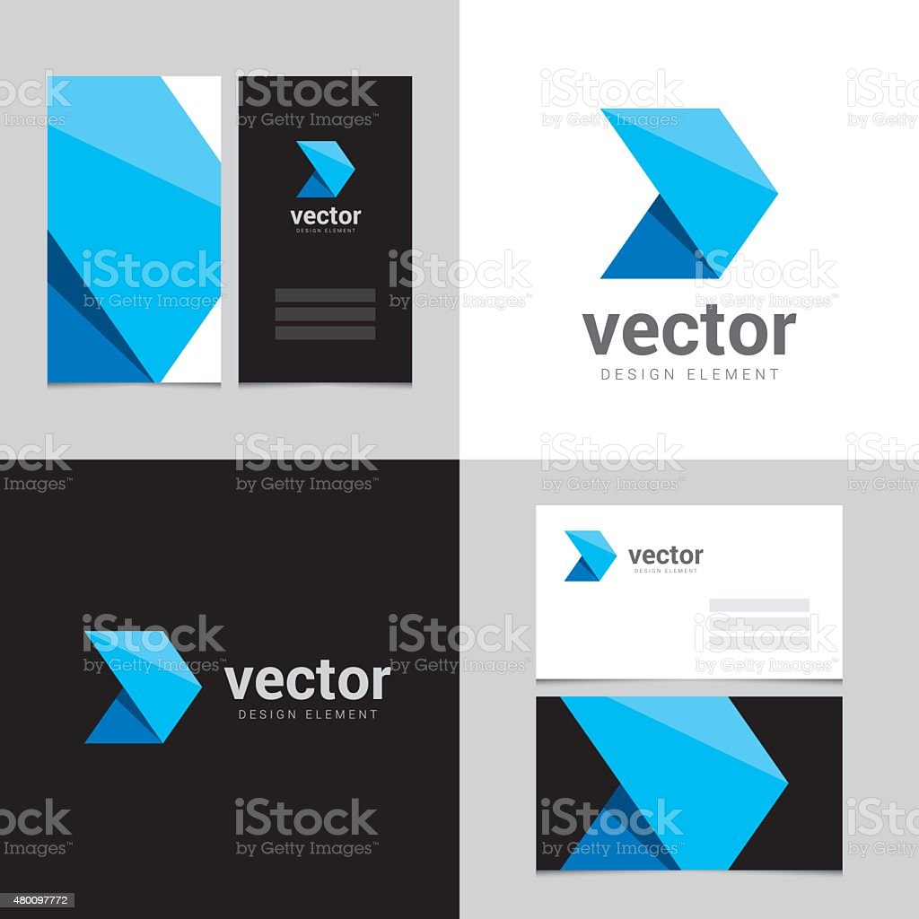 Logo design element with two business cards template - 23 vector art illustration