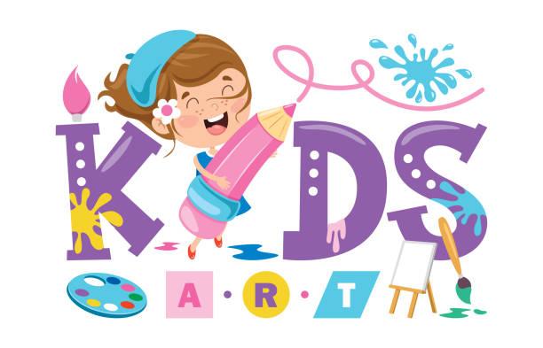 ilustraciones, imágenes clip art, dibujos animados e iconos de stock de diseño de logotipo para arte para niños - clase de arte