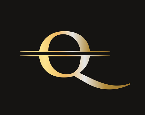 Q logo design. Initial Gold Q letter logo design with modern trendy