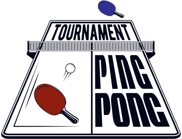 Logo design ping pong tournament for printing press and on T-shirts, publications on the Internet. Vector image Logo design ping pong tournament for printing press and on T-shirts, publications on the Internet. Vector image ping pong table stock illustrations