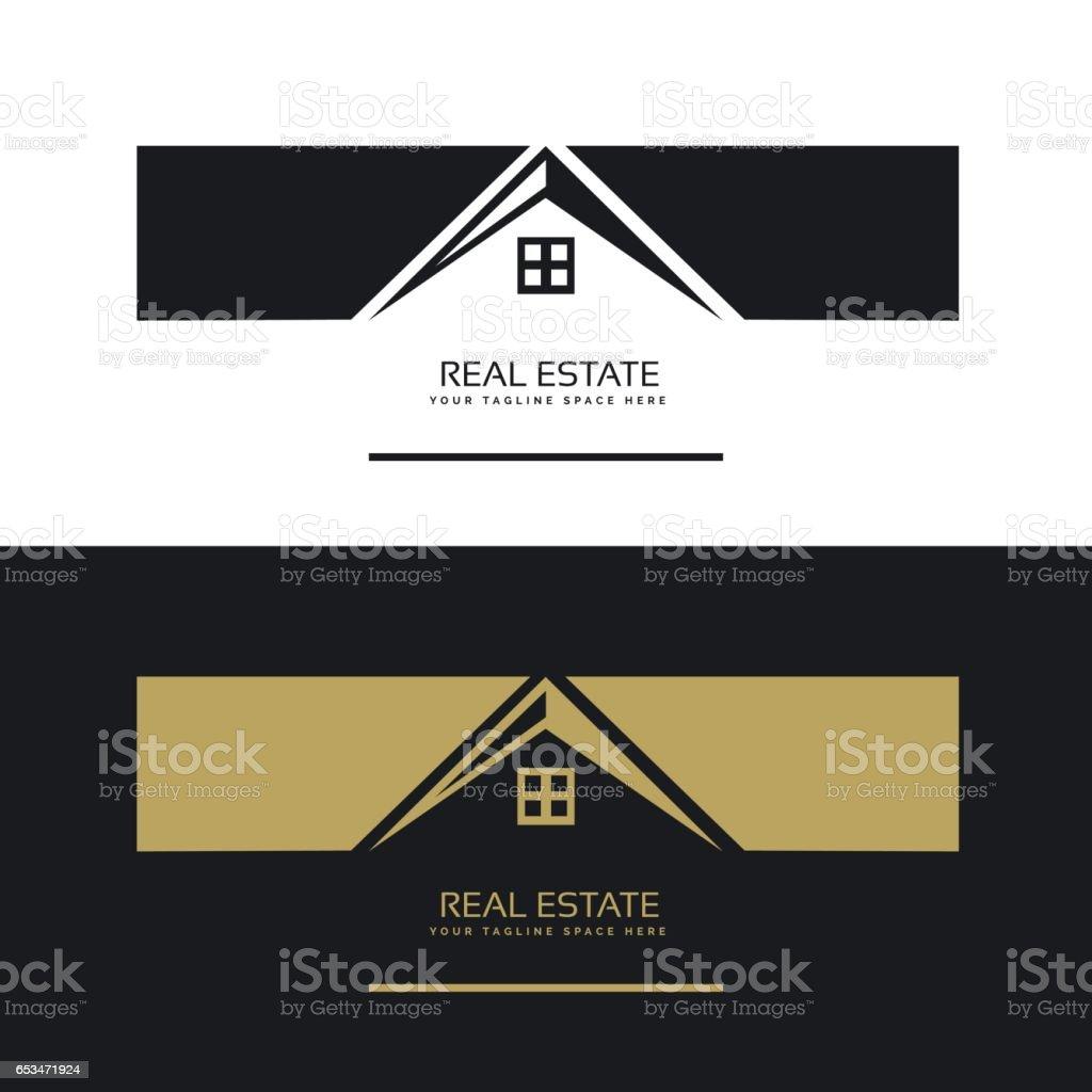 Logo Design Immobilier Carte De Visite Dans Les Couleurs Noir Et Blancs