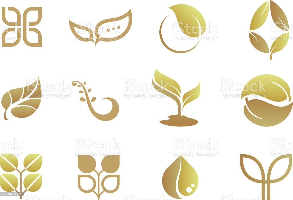 Logo Design Set Gold Color Stock Illustration Download Image Now