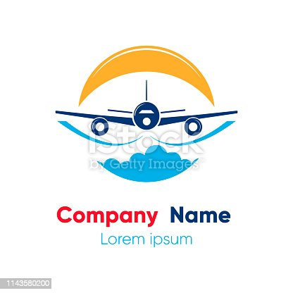 Logo design template for abstract airlines, airplane tickets, travel agencies. Vector illustration