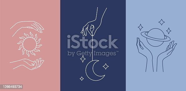istock Logo design template with woman's hand and mystical celestial elements - sun, moon and planet. Line art minimalism style. 1266493734
