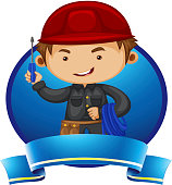 Logo design with repairman and tools illustration