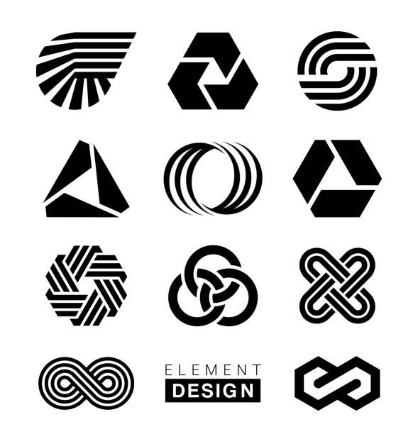 ilustrações de stock, clip art, desenhos animados e ícones de logo elements design - logótipo