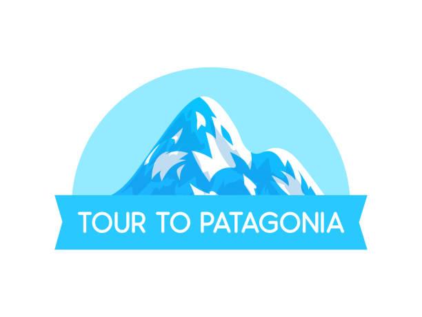 illustrazioni stock, clip art, cartoni animati e icone di tendenza di logo emblem with illustration of patagonia alps vector style - vector illustration on white - monte bianco