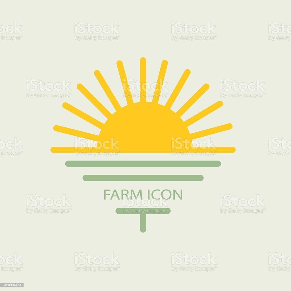 Logo farmhouse, with the sun and golf. flat design vector art illustration