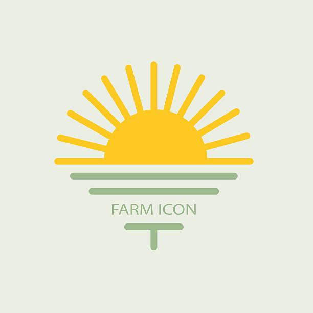 logo farmhouse, with the sun and golf. flat design - sunrise stock illustrations, clip art, cartoons, & icons
